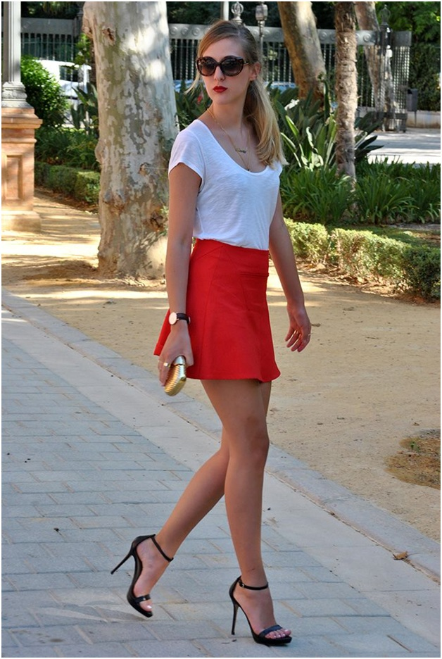 Red Mini Skirt Outfit