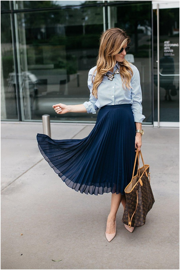 Blue Accordion Skirt outfit