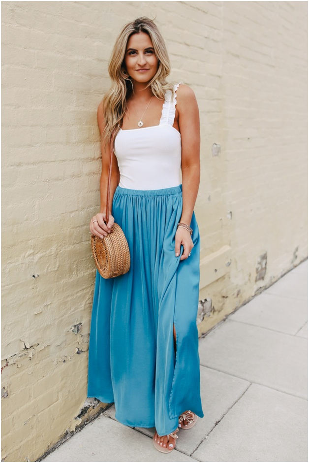 Blue A-line Slit skirt outfit